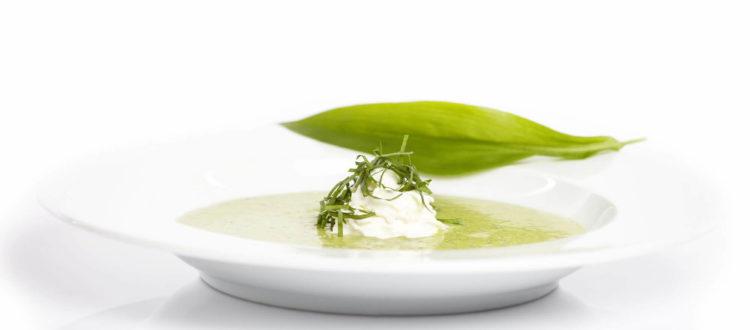 Bärlauchsuppe im tiefen Teller, regionales und saisonales Gericht